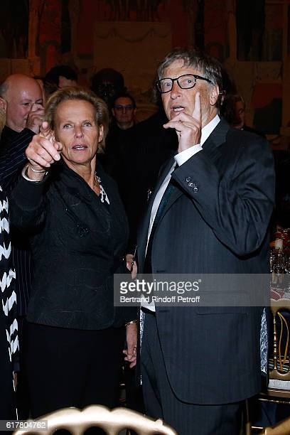 Journalist Christine Ockrent and Bill Gates attend the FrenchAmerican Foundation Dinner Gala at Palais de Chaillot on October 24 2016 in Paris France