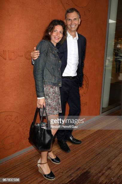 Journalist Christophe Jakubyszyn and Alix Bouilhaguet and attend the 2018 French Open Day Ten at Roland Garros on June 5 2018 in Paris France
