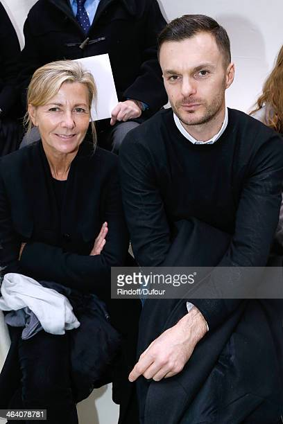 Journalist Claire Chazal and Fashion Designer Dior Homme Kris Van Assche attend the Christian Dior show as part of Paris Fashion Week Haute Couture...