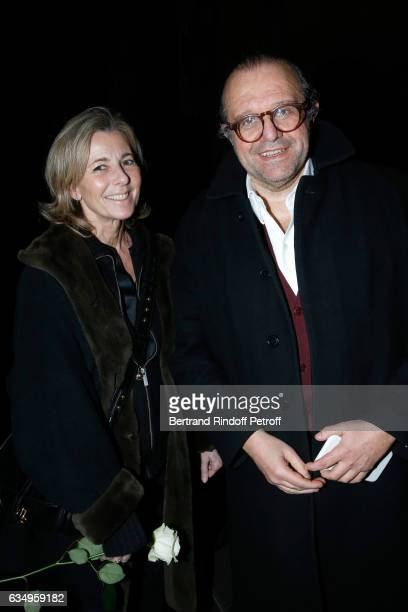 Journalist Claire Chazal and Lawyer Herve Temime attend Gerard Depardieu sings Barbara accompanied on the piano of Barbara by Gerard Daguere who was...