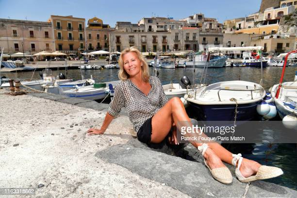 Journalist Claire Chazal is photographed for Paris Match on August 8 2019 in Lipari Sicily Italy