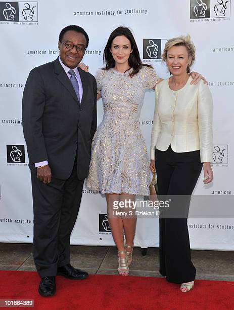 Journalist Clarence Page actress Emily Blunt and Tina Brown attend the American Institute For Stuttering's 4th Annual Benefit Gala at Tribeca Rooftop...