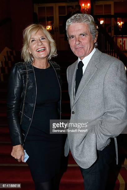 Journalist Claude Serillon and his wife Catherine Ceylac attend the A Droite A Gauche Theater Play at Theatre des Varietes on October 12 2016 in...