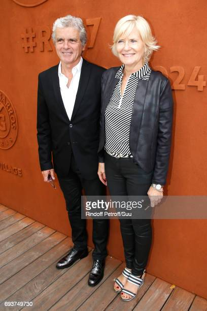 Journalist Claude Serillon and his wife Catherine Ceylac attend the 2017 French Tennis Open Day Twelve at Roland Garros on June 8 2017 in Paris France