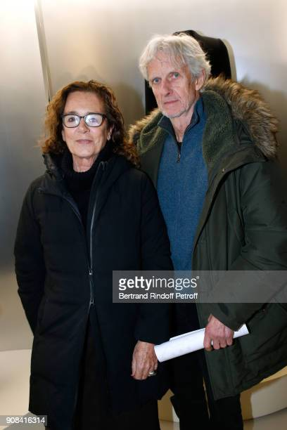 Journalist Colombe Pringle and actor Mathieu Carriere attend the 'Azzedine Alaia Je Suis Couturier' Exhibition as part of Paris Fashion Week Held at...