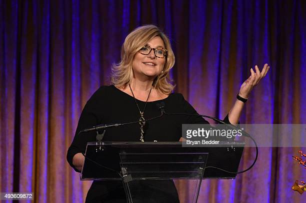 Journalist Cynthia McFadden speaks onstage during the Women's Media Foundation's 2015 Courage in Journalism Awards on October 21, 2015 in New York...