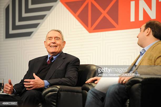 Journalist Dan Rather and Andrew Bleeker President of Bully Pulpit Interactive speak onstage at 'Breaking The News In The Age Of Snapchat' during the...
