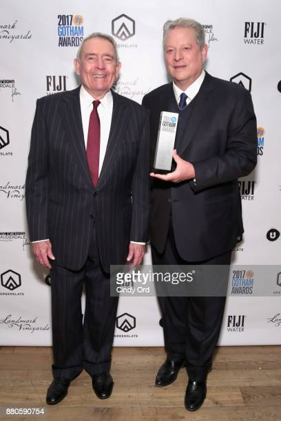 Journalist Dan Rather and Former Vice President Al Gore pose backstage during IFP's 27th Annual Gotham Independent Film Awards on November 27 2017 in...