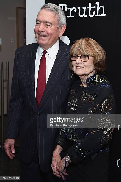 Journalist Dan Rather and Jean Goebel attend the Giorgio Armani and Cinema Society screening of Sony Pictures Classics' Truth at Museum of Modern Art...