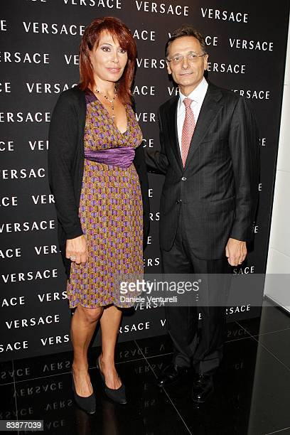 Journalist Daniela Vergara and Versace CEO Giancarlo Di Risio attend the Versace Flagship Boutique opening in Via Veneto on October 29 2008 in Rome...
