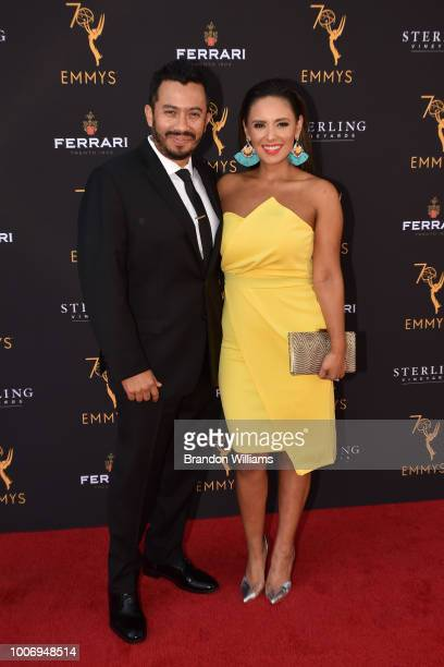 Journalist Danielle Guzman and husband Hector Guzman attends the 70th Los Angeles Area Emmy Awards at Saban Media Center on July 28 2018 in North...