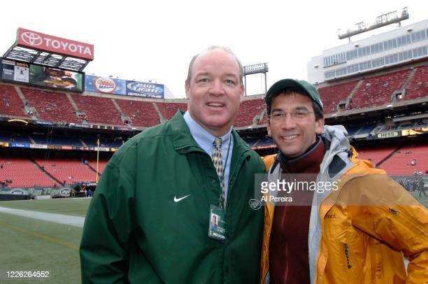 Journalist David Price meets with New York Jets alumni and radio host Marty Lyons when he attends the New York Jets vs Tampa Bay Buccaneers game at...