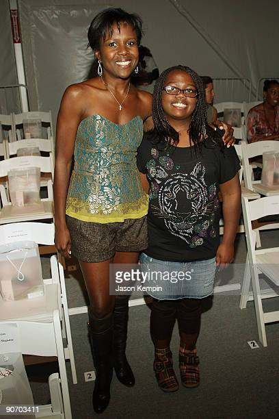 Journalist Deborah Roberts and daughter Leila attend the Lela Rose Spring 2010 Fashion Show at Bryant Park on September 13 2009 in New York New York