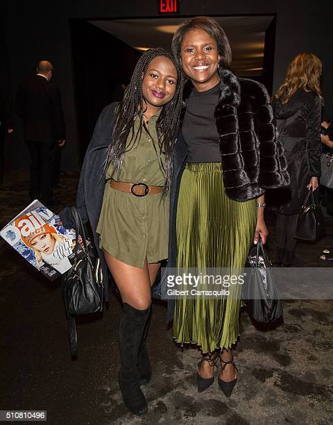 Journalist Deborah Roberts and daughter Leila Roker are seen outside the Dennis Basso Fall 2016 fashion show during New York Fashion Week The Shows...