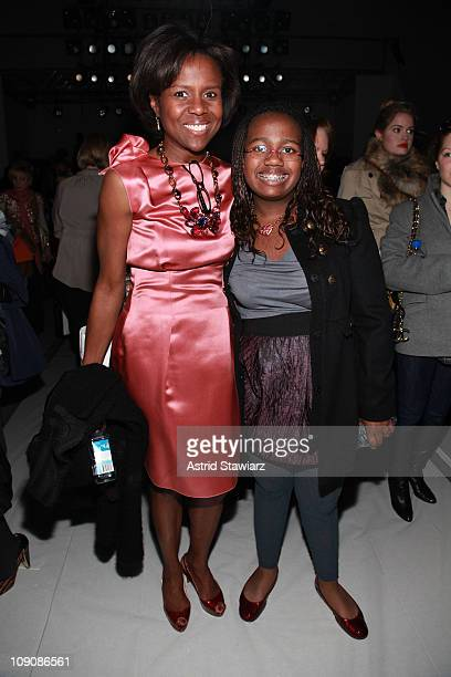 Journalist Deborah Roberts and Leila Roker attend the Monique Lhuillier Fall 2011 fashion show during MercedesBenz Fashion Week at The Stage at...