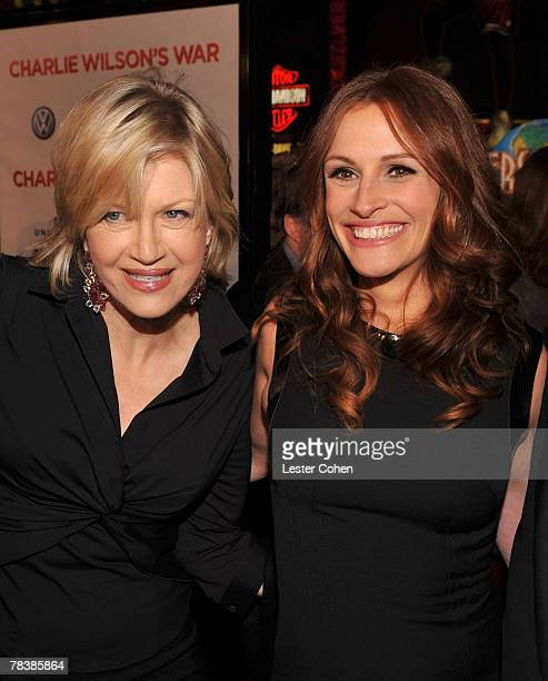 Journalist Diane Sawyer and actress Julia Roberts arrive to the premiere of Universal Pictures' Charlie Wilson's War at City Walk Cinemas on December...