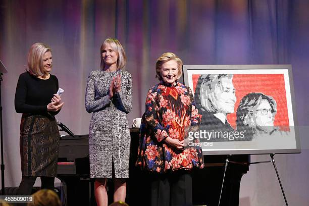 Journalist Diane Sawyer President EGPAF Board of Trustees Willow Bay and Global Impact Award Recipient Hillary Rodham Clinton speak on stage during...