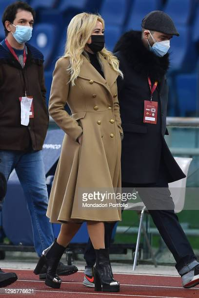 Journalist Diletta Leotta during the match Roma-Inter in the Olympic stadium. Rome , January 10th, 2021