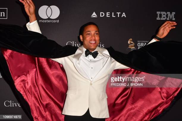 US journalist Don Lemon arrives for the traditional Clive Davis party on the eve of the 61th Annual Grammy Awards at the Beverly Hilton hotel in...
