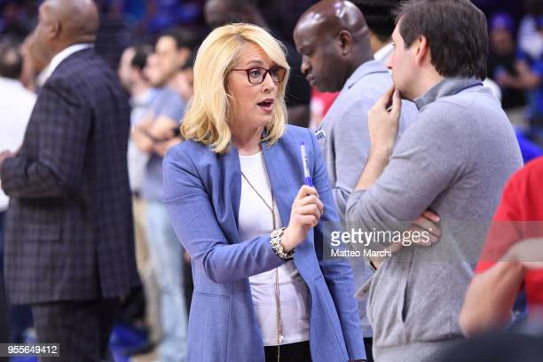 Journalist Doris Burke before the game between the Boston Celtics and the Philadelphia 76ers in Game Three of the Eastern Conference Semifinals of...