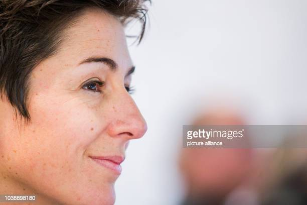 Journalist Dunja Hayali smiles during the education trade fair 'Didacta' in Cologne Germany 17 February 2016 Hayali was awarded the honourary title...