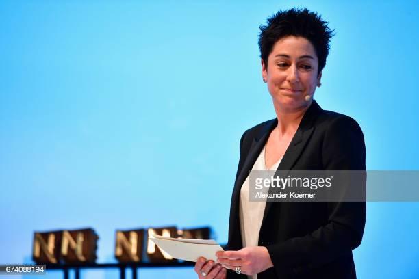 Journalist Dunja Hayali speaks on stage at the Nannen Award 2017 on April 27 2017 in Hamburg Germany
