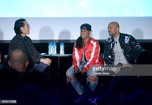 Journalist E Alex Jung writer/producer Lena Waithe and musician/producer Common speak onstage during the 'Chi' panel part of Vulture Festival LA...