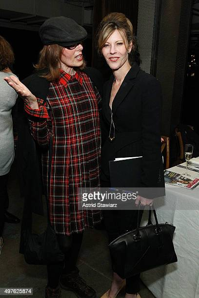 Journalist E Jean Carroll and Editorinchief of Elle magazine Robbie Myers attend The ELLE Agenda In Conversation Panel And Cocktail Party hosted by...
