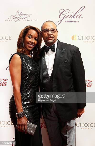 Journalist Ed Gordon and his wife Leslie attends the 2015 Steve and Marjorie Harvey Foundation Gala at the Hilton Chicago on May 16 2015 in Chicago...