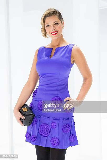 Journalist Eleonore Boccara attends the Lan Yu show as part of the Paris Fashion Week Haute Couture Spring/Summer 2015 at the Grand Palais on January...
