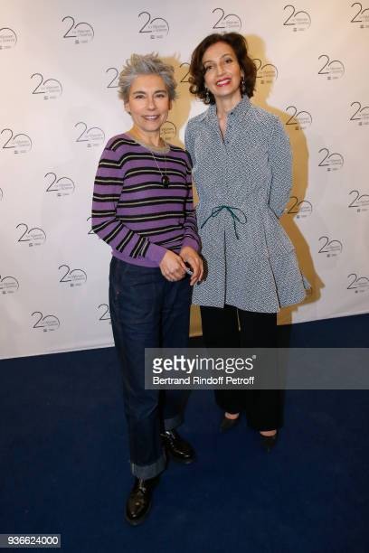 Journalist Elisabeth Quin and DirectorGeneral of the UNESCO Audrey Azoulay attend the 2018 L'Oreal UNESCO for Women in Science Awards Ceremony at...