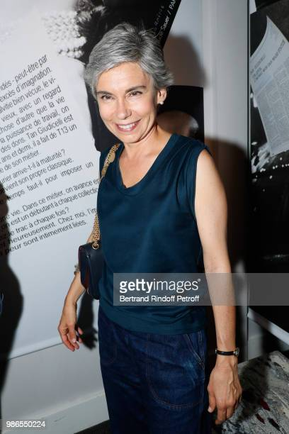 Journalist Elisabeth Quin attends the Tan Giudicelli Exhibition of drawings and accessories preview at Galerie Pierre Passebon on June 28 2018 in...