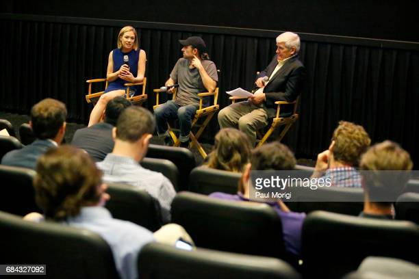 Journalist Elise Jordan Director David Michod and Historian Andrew Bacevich speak during the panel for the Washington DC Screening of War Machine at...