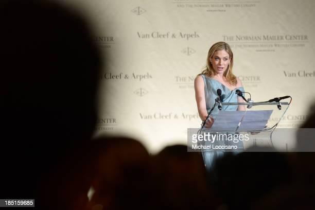 Journalist Elise Jordan speaks onstage at the Norman Mailer Center's Fifth Annual Benefit Gala sponsored by Van Cleef Arpels at the New York Public...