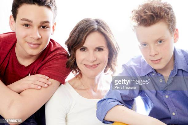 Journalist Elizabeth Vargas is photographed with sons sons Zachary and Samuel for People Magazine on May 31, 2018 in New York City.