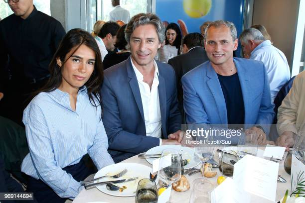Journalist Emilie Tran Nguyen General Director of Facebook France Laurent Solly and journalist Louis Laforge attend the 'France Television' Lunch...