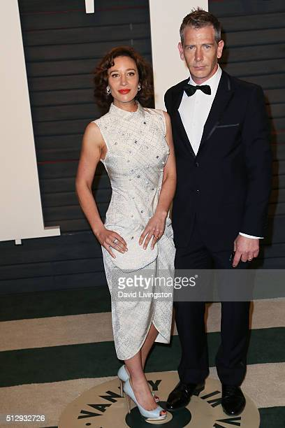 Journalist Emma Forrest and actor Ben Mendelsohn arrive at the 2016 Vanity Fair Oscar Party Hosted by Graydon Carter at the Wallis Annenberg Center...