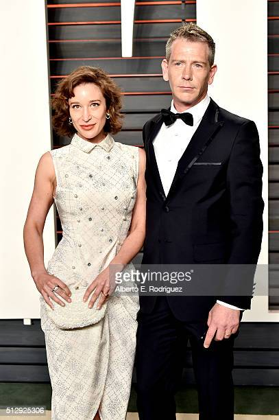 Journalist Emma Forrest and actor Ben Mendelsohn attend the 2016 Vanity Fair Oscar Party hosted By Graydon Carter at Wallis Annenberg Center for the...