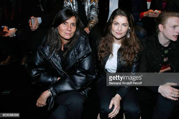 Journalist Emmanuelle Alt and Laetitia Casta attend the Saint Laurent show as part of the Paris Fashion Week Womenswear Fall/Winter 2018/2019 on...