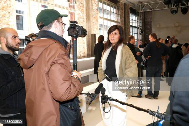 Journalist Emmanuelle Alt poses for Loic Prigent after the Nina Ricci show as part of the Paris Fashion Week Womenswear Fall/Winter 2019/2020 on...