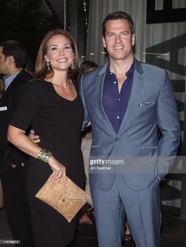 Journalist Erica Hill and news anchor Thomas Roberts attend 'Jobs' New York Premiere at MOMA on August 7, 2013 in New York City.