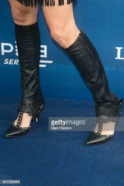 Journalist Erika Moulet shoe detail attends the 'Prix de Diane Longines' on June 19 2016 in Chantilly France