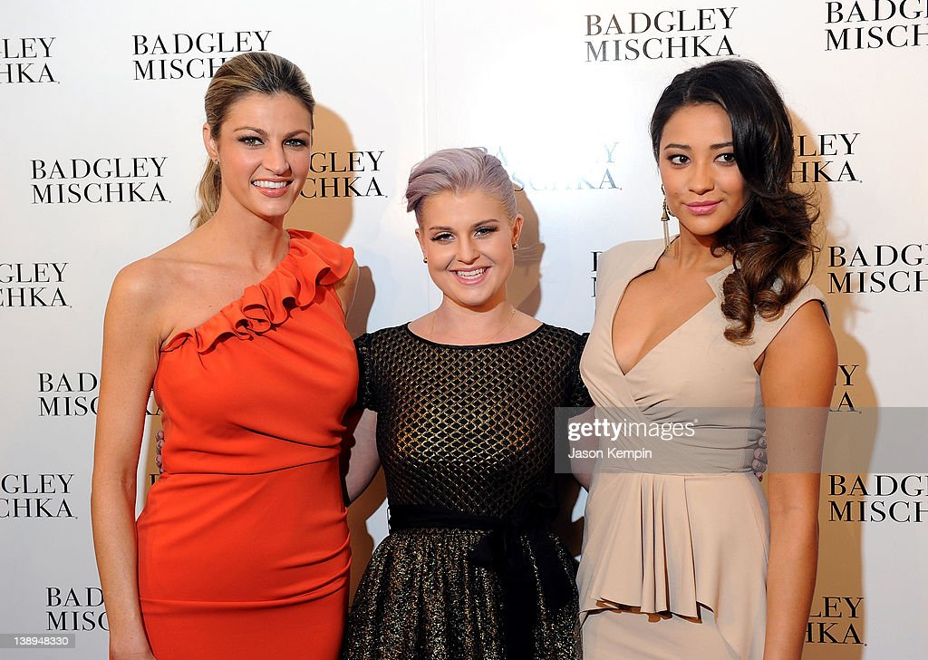 Journalist Erin Andrews, Kelly Osbourne and actress Shay Mitchell pose backstage at the Badgley Mischka Fall 2012 fashion show during Mercedes-Benz Fashion Week at The Theatre at Lincoln Center on February 14, 2012 in New York City.
