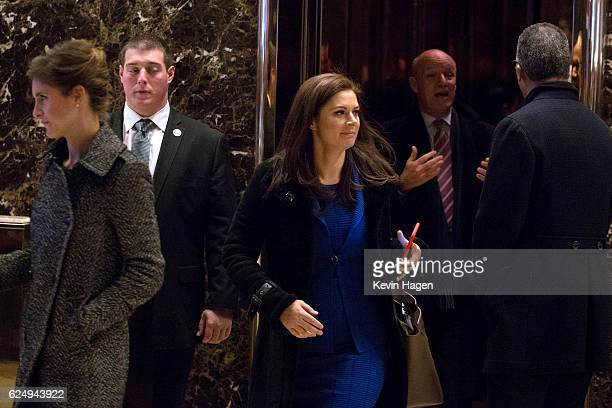 Journalist Erin Burnett emerges from the elevators following a visit to Trump Tower on November 21, 2016 in New York City. President-elect Donald...