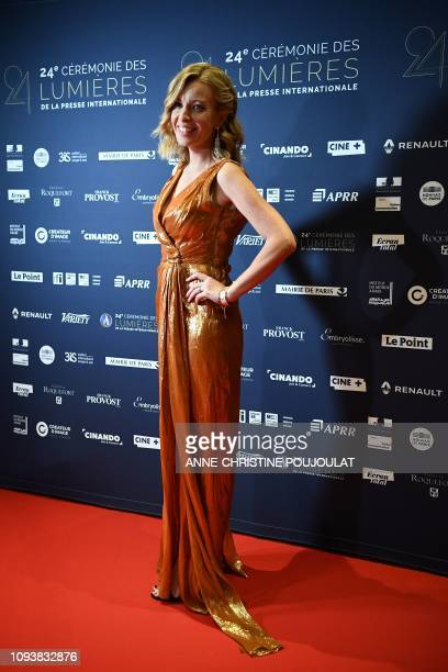 Journalist Eve Jackson poses on the red carpet upon her arrival at the 24th Lumieres Awards ceremony at the Institut du Monde Arabe in Paris on...