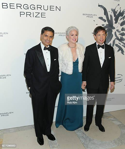 Journalist Fareed Zakaria Dawn Nakagawa Executive Vice President Berggruen Institute and Nicolas Berggruen Chairman Berggruen Institute attend the...