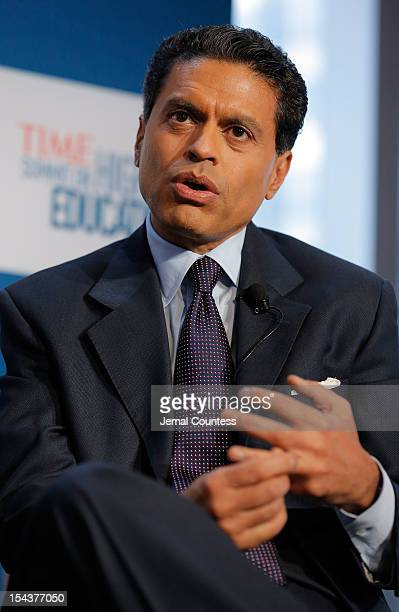 """Journalist Fareed Zakaria moderates the """"Changing Landscapes: From the Digital Classroom to the Global Campus"""" panal during the TIME Summit On Higher..."""