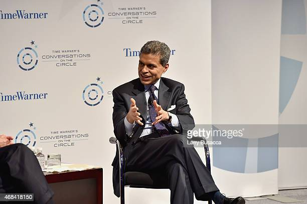 Journalist Fareed Zakaria speaks on stage at Time Warner's Conversations on The Circle A Conversation With James A Baker III Moderated By Fareed...