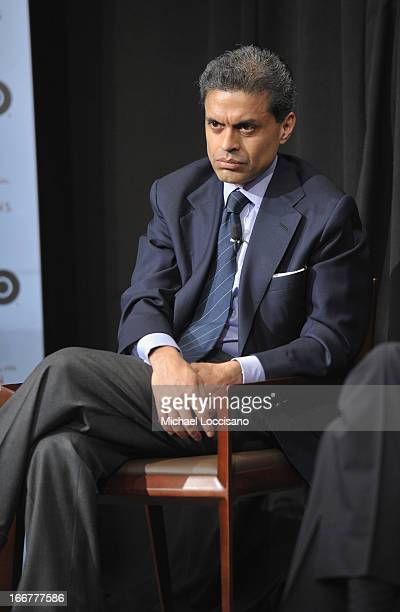 """Journalist Fareed Zakaria takes part in a Q&A following the HBO Documentary Films special screening of """"Manhunt"""" at Council on Foreign Relations on..."""