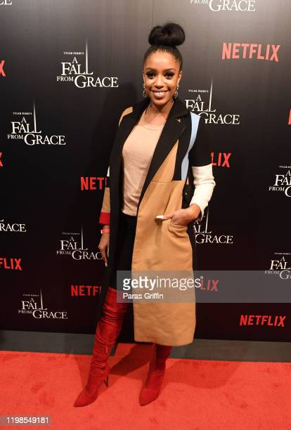 """Journalist Francesca Amiker attends Tyler Perry's """"A Fall From Grace"""" VIP Screening at SCAD Show on January 09, 2020 in Atlanta, Georgia."""